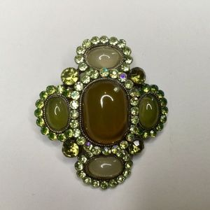 Jewelry - Green Brooch Citrine Colored and White Stone Cross